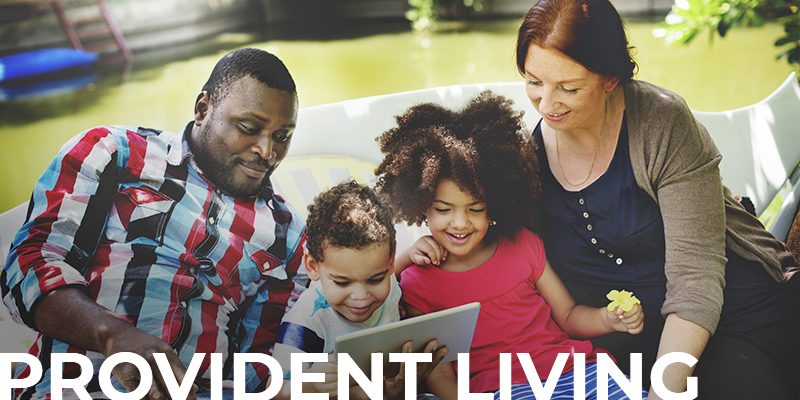 photo of a family relaxing together with a text overlay: Provident Living