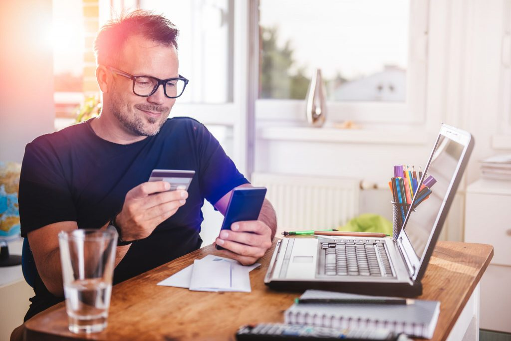 A man using online banking